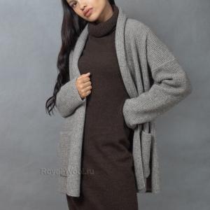 Кардиган из шерсти яка серый
