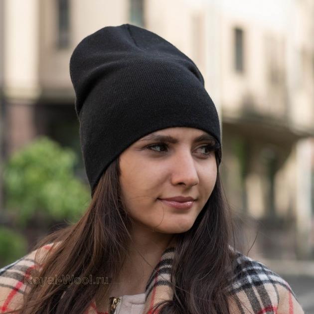 Черная шерстяная шапка