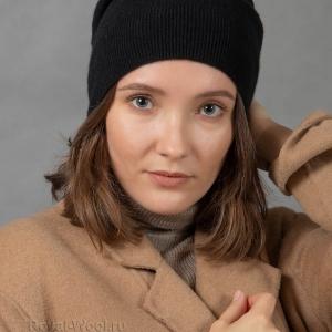 Кашемировая черная шапка тонкая