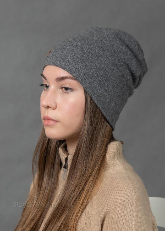 Серая кашемировая шапка