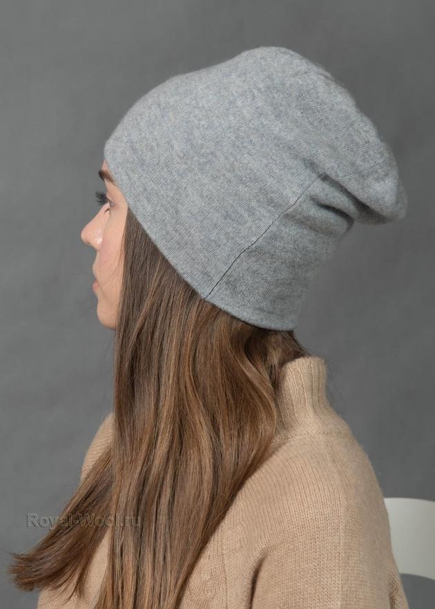 Серая женская шапка из кашемира