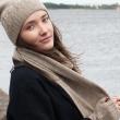 Шапка, митенки, шарф из шерсти (бежевый)