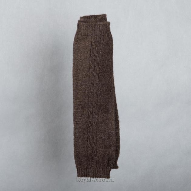 Митенки шерстяные коричневые (пух яка)