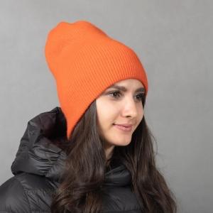 Оранжевая кашемировая шапка