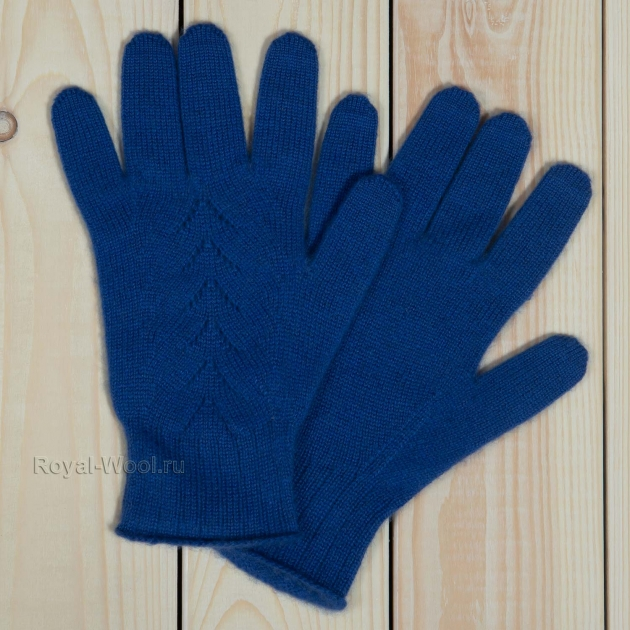 перчатки из кашемира женские синие