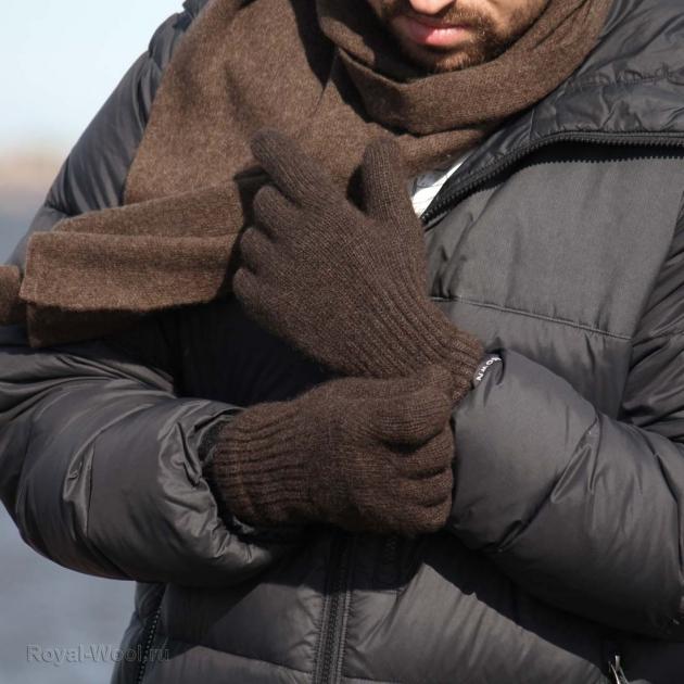 Мужские перчатки из шерсти яка коричневые