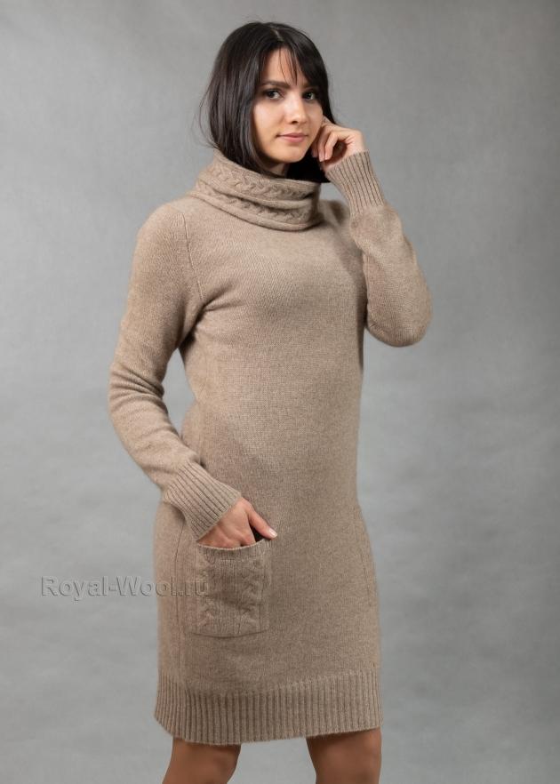Платье из кашемира бежевое