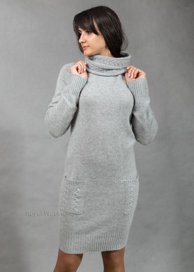 Платье из кашемира серо-голубое