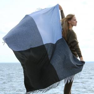 Плед кашемир серо-голубой