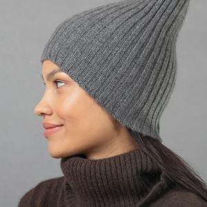 Серая шапка кашемир