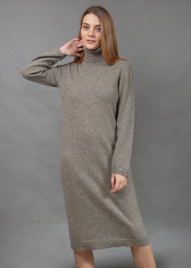 Серое платье из шерсти яка