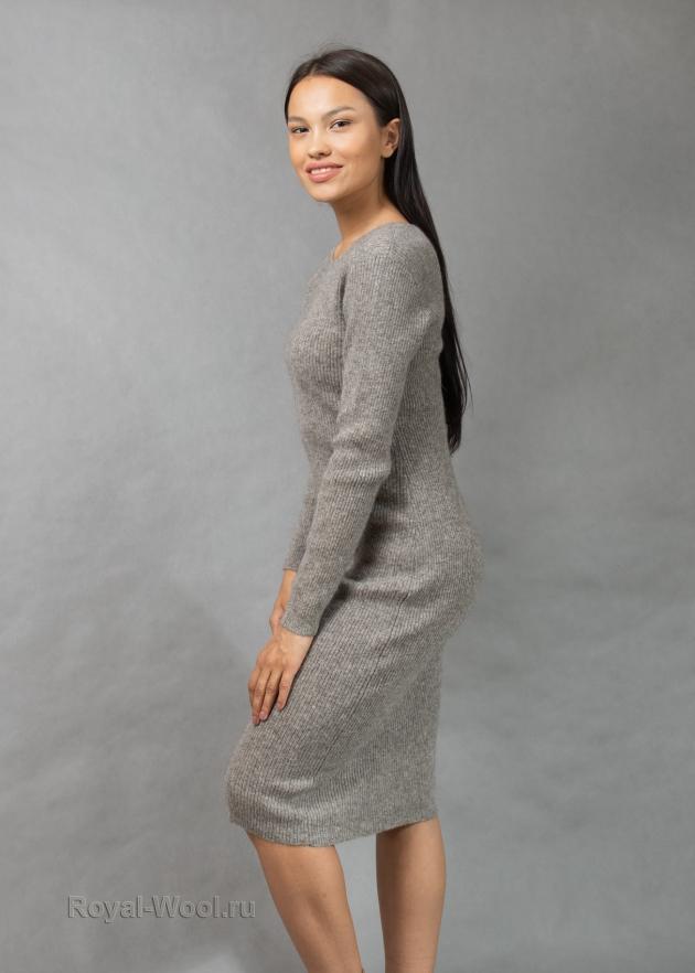 Серое шерстяное платье
