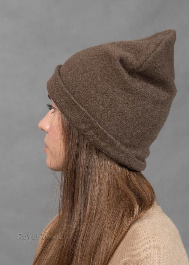 Женская шапка бини цвет капучино