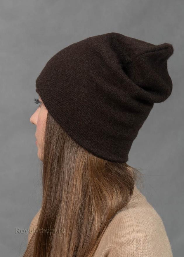 Коричневая шапка бини шерсть яка