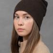 Коричневая шапка бини шерсть яка фото2