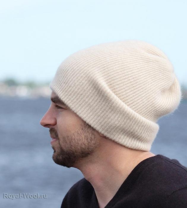 шапка кашемир светло-бежевая