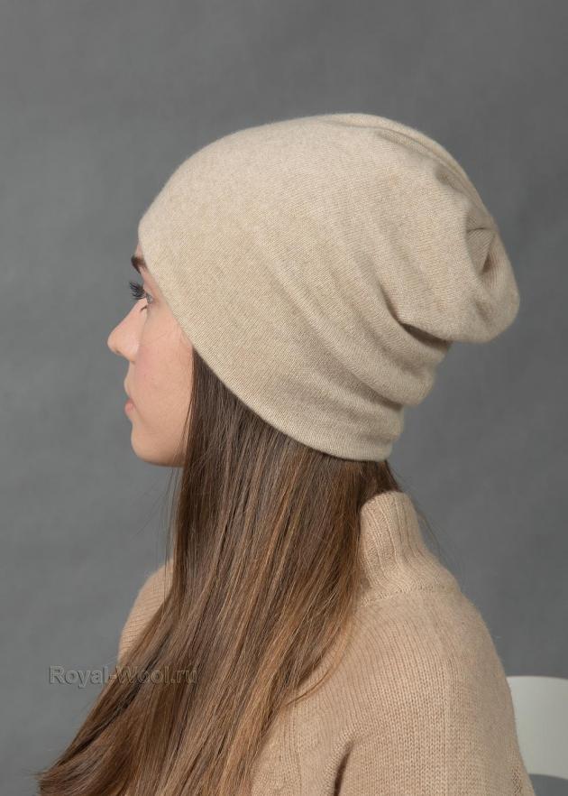 Кашемировая бежевая шапка
