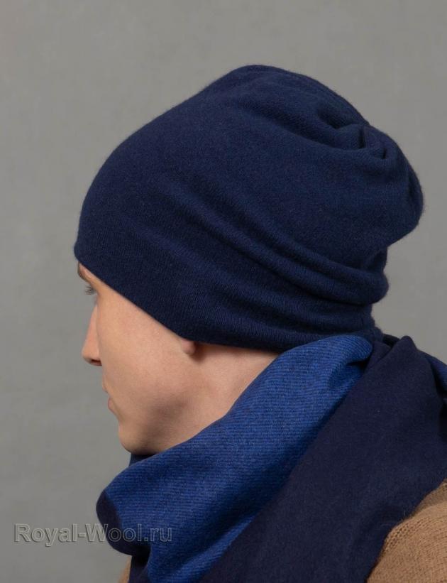 Шапка из кашемира синяя