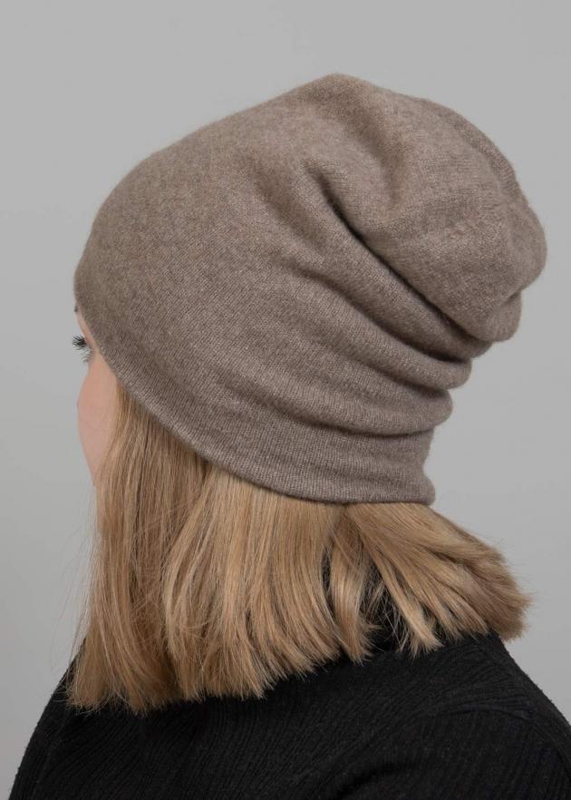 Темно-бежевая шапка кашемир фото2