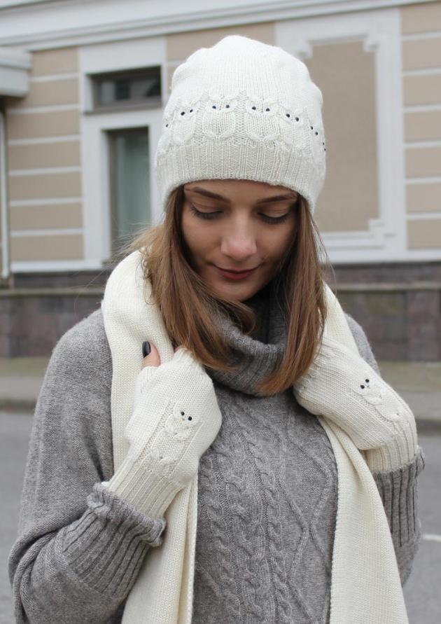 Шапка, шарф, митенки из шерсти (белый)