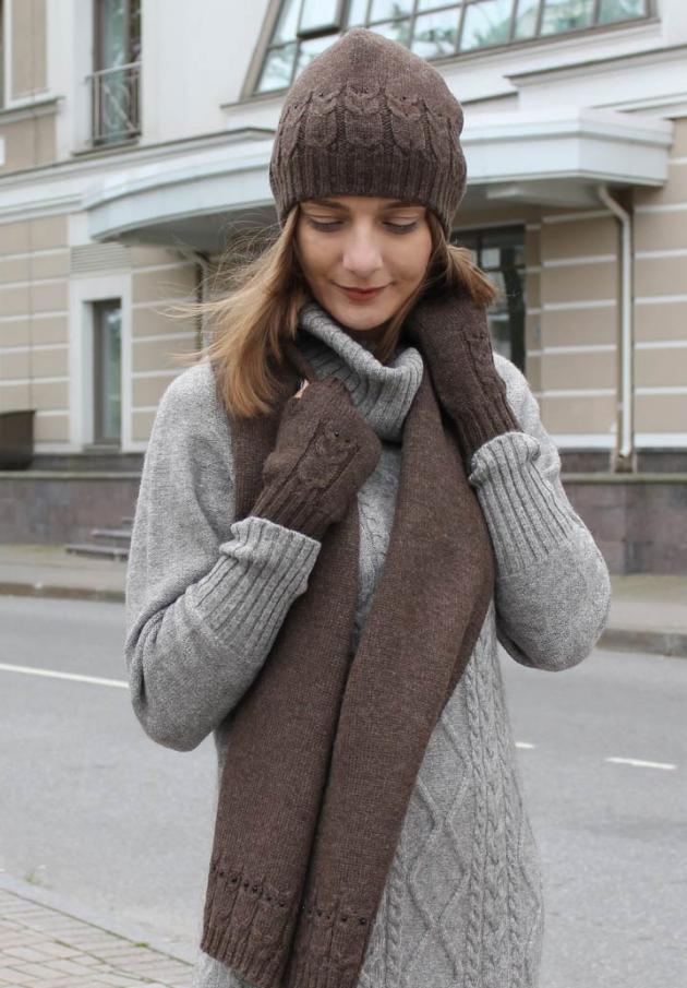 Шапка, шарф, митенки из шерсти (темно-бежевый)