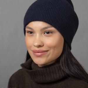 Синяя кашемировая шапка