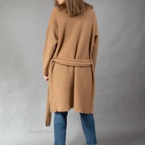Женское стильное трикотажное пальто