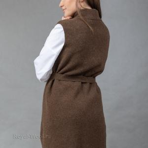 Женский длинный трикотажный жилет
