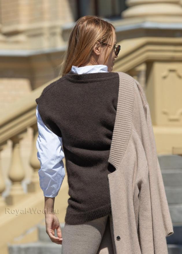 Трикотажный шерстяной женский жилет