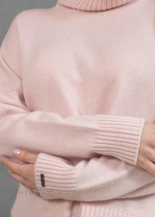 Кашемировый розовый свитер