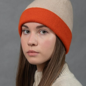 Женская оранжевая шапка кашемир