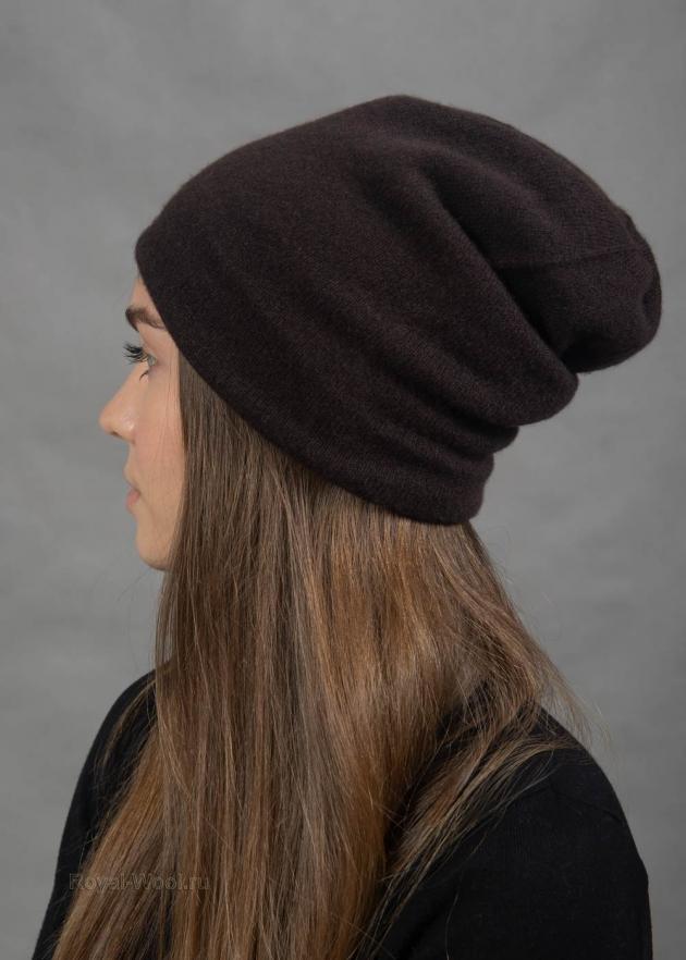 Коричневая шапка кашемировая
