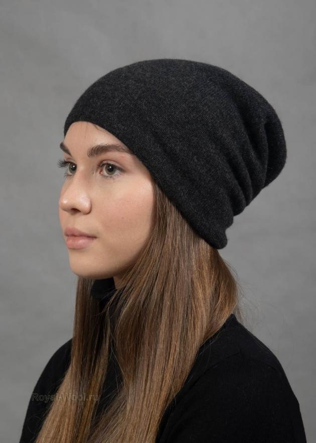 Кашемировая двойная серая шапка
