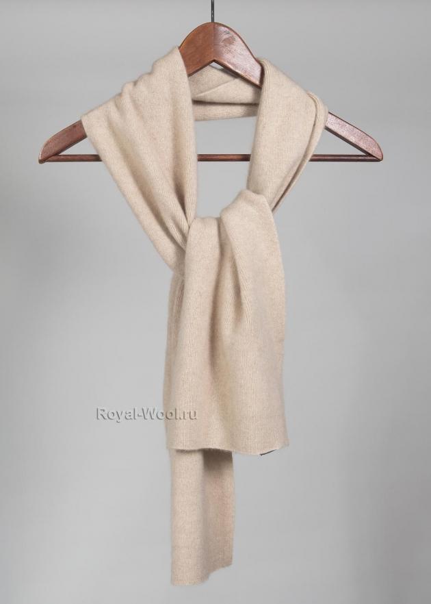Трикотажный кашемировый бежевый шарф