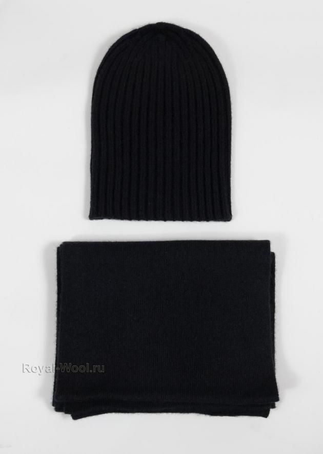 Комплект шапка и шарф черный кашемир