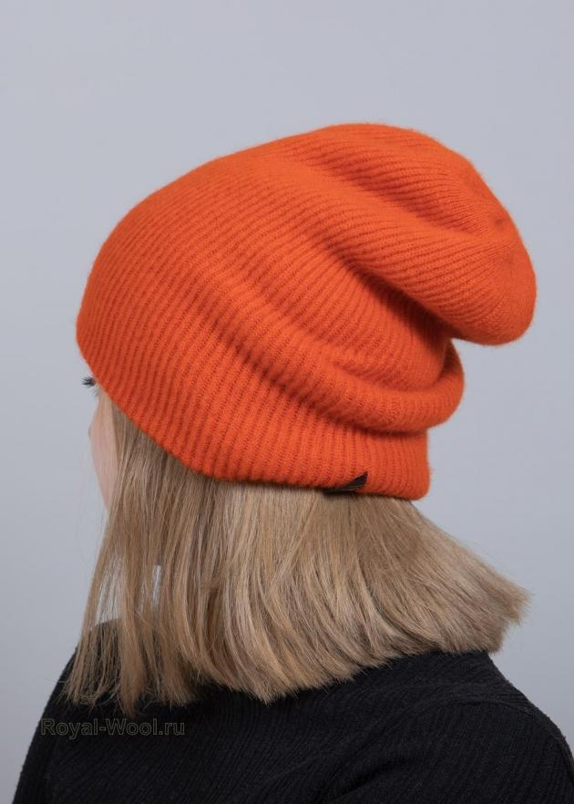 Шапка и шарф оранжевый комплект фото2
