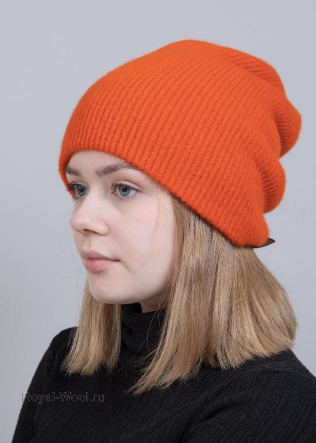 Шапка и шарф оранжевый комплект фото3