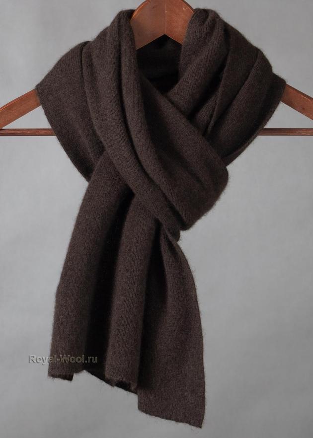 Комплект шапка шарф коричневый як фото2