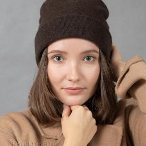 Комплект шапка шарф коричневый як фото4