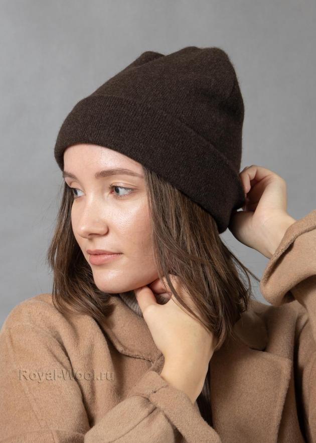 Комплект шапка шарф коричневый як фото5