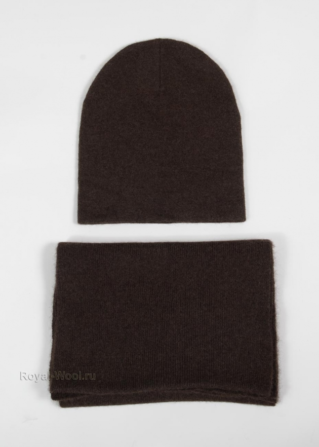 Комплект шапка шарф коричневый як