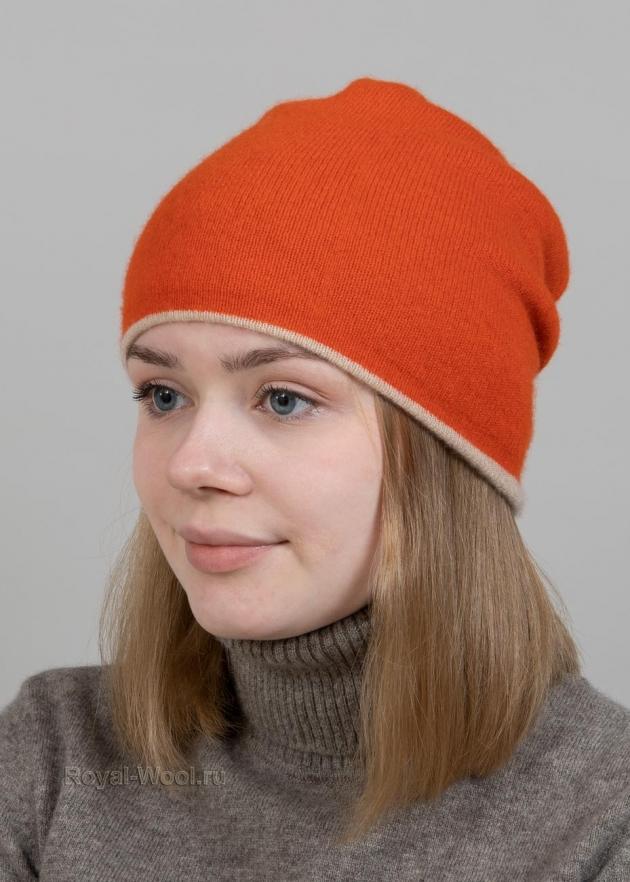 Оранжевый комплект шапка шарф фото2