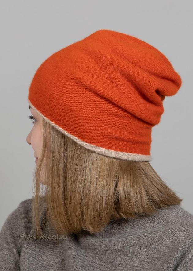 Оранжевый комплект шапка шарф фото3