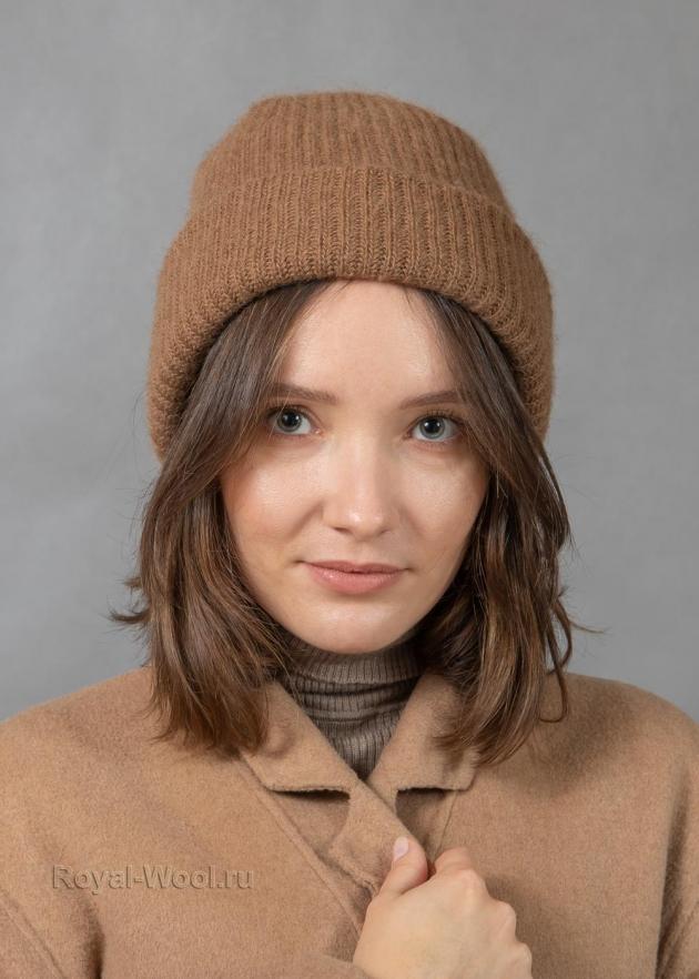Комплект шапка шарф из верблюжьей шерсти фото4