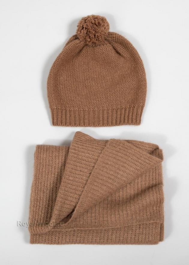 Комплект шапка и шарф из верблюжки фото1