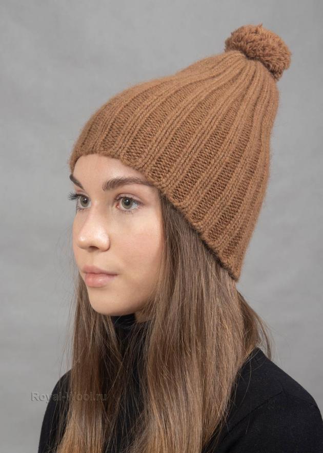 Комплект шарф шапка с помпоном из верблюжки фото2