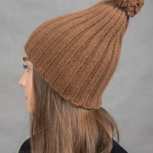 Комплект шарф шапка с помпоном из верблюжки фото3